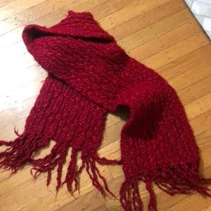 Chunky Knit Red Wool-Blend Scarf